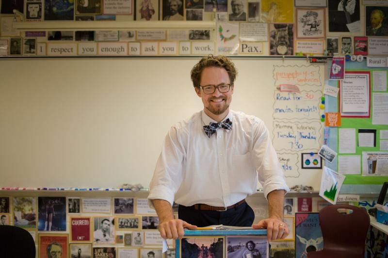 Rob Fennimore in his classroom at Skyline Middle School in Harrisonburg.