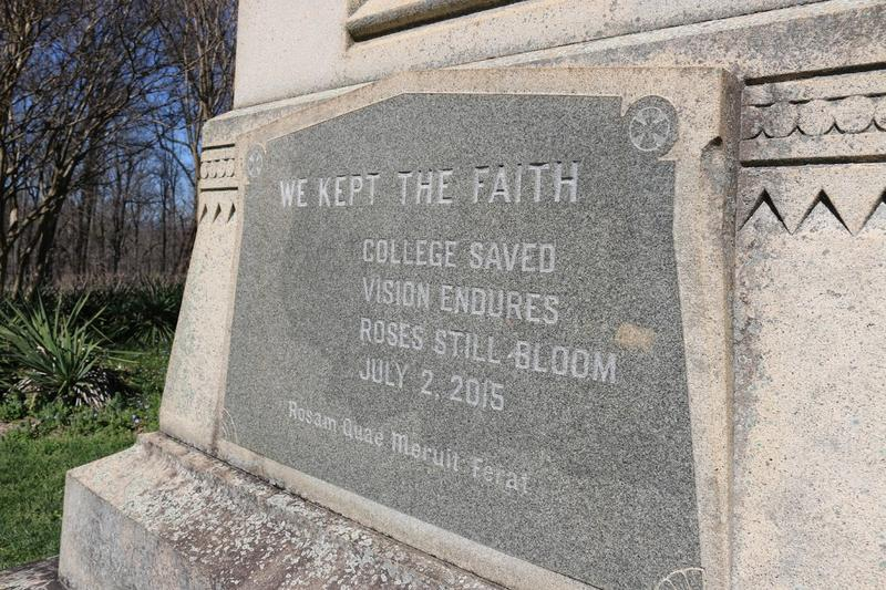 A plaque at the base of a statue on Monument Hill memorializes the date of Sweet Briar's resurrection: July 2nd, 2015.