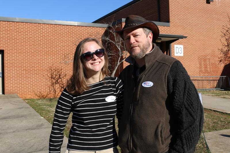 "First-time voter Sadie Kelly cast her ballot for Bernie Sanders. Her dad Chris voted for a Republican, but says ""I'm just proud that she's voting and, you know, I don't expect her to have the same exact views as me on everything."""
