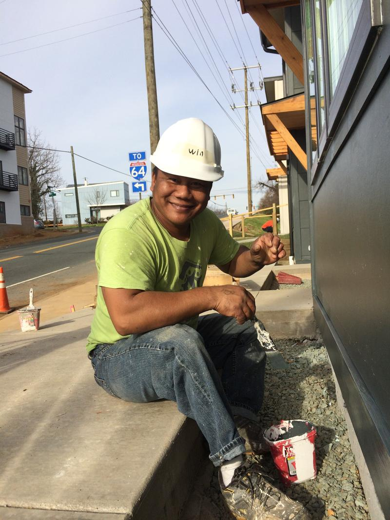 Win Than, 42, resettled in Charlottesville from Burma in 2005. Working with Habitat for Humanity, he and his family are building their new home.
