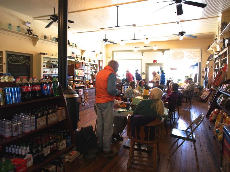 Stanley Bright chats with friends at Middlebrook General Store.