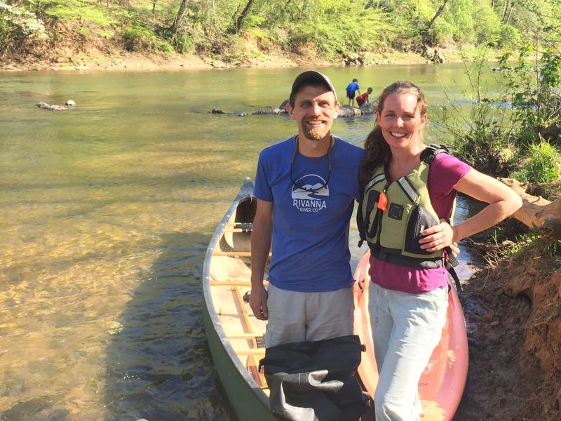 Sonya and Gabe Silver, owners of Rivanna River Company, pictured here, before heading out for an afternoon on the river.