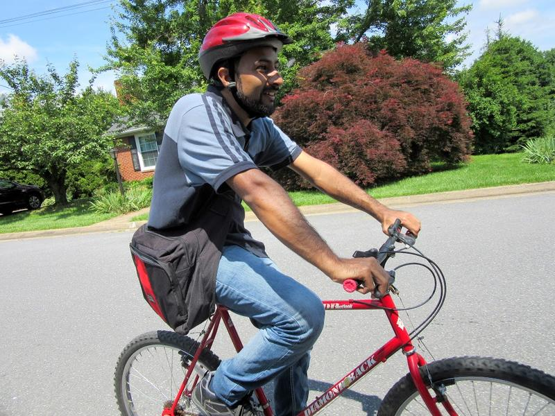 Fareed Ahmed is a refugee from Pakistan who received a bicycle at a recent class.