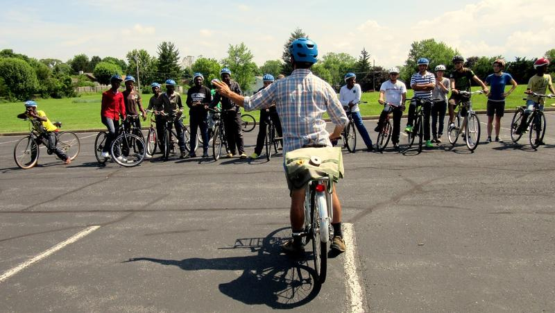 Matt Hassman of Safe Routes to School teaches a bicycle lesson.
