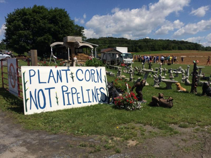 Protesters gather in a field near Stuarts Draft, along the proposed Atlantic Coast Pipeline route.
