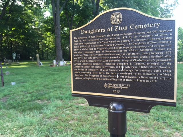 A new sign marks the site of the restoration of the Daughters of Zion Cemetery.