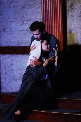 Whitney McArthur as Isabella and Conner Keef as Claudio in Measure For Measure
