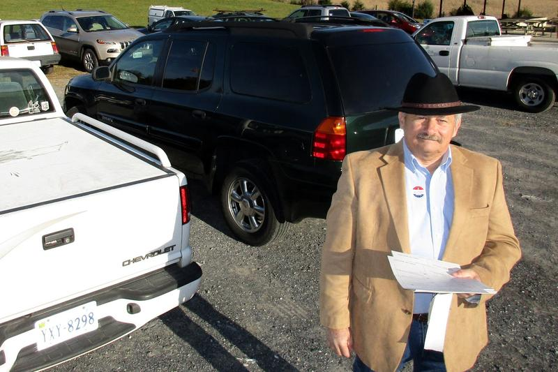 Rockingham County Commissioner of the Revenue Lowell Barb was handing out Republican sample ballots this morning--and directing traffic in the busy parking lot.