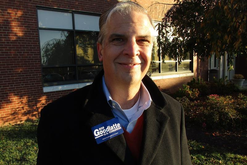 Virginia senator Mark Obenshain stood outside the Keister Elementary polling place in Harrisonburg.