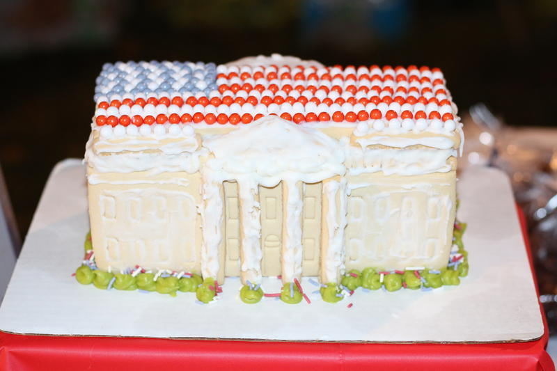One of the bake sale offerings at Woodbrook Elementary in Charlottesville: A White House cake