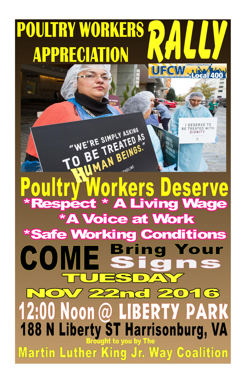 "A banner advertises the ""Poultry Workers Appreciation Rally"" in Liberty Park, Tuesday, Nov. 22 at noon."