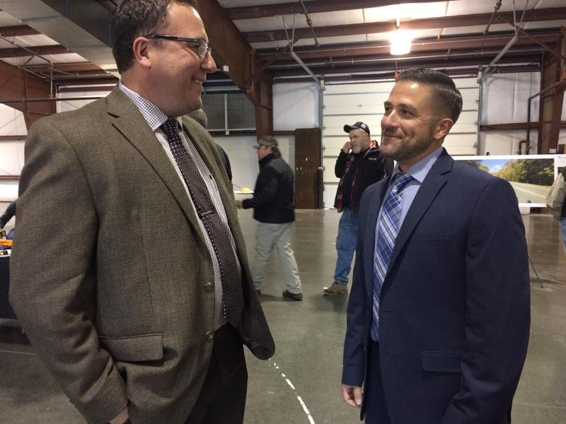 Matthew Yonka (right), president of the Virginia State Building and Construction Trades Council, talks to Jon Rosenberger, who does business development for the International Brotherhood of Electrical Workers.