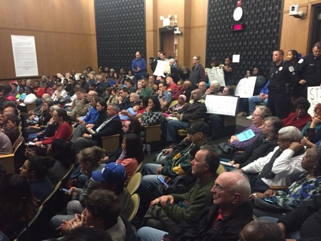 Packed house at city council chambers