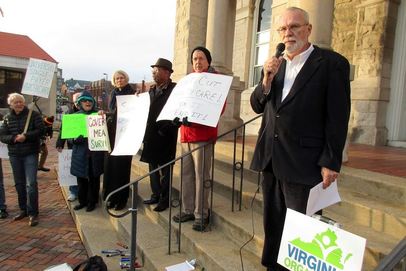 Tim Jost is a retired law professor who writes for the health policy journal Health Affairs and lives just outside Harrisonburg; he spoke at the demonstration.