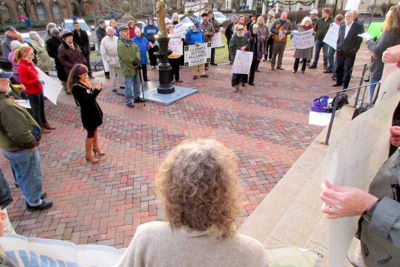 Virginia Organizing set up Tuesday's demonstration.