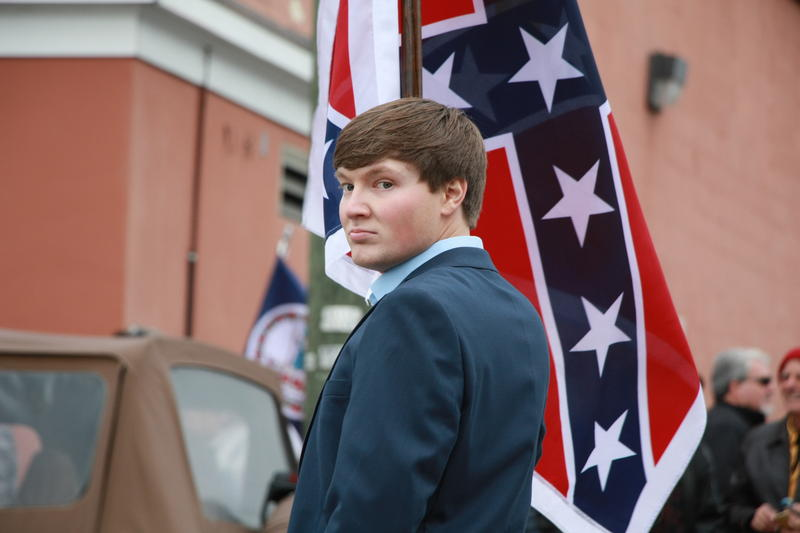A young supporter of the Sons of Confederate Veterans marched on Sunday with the group.