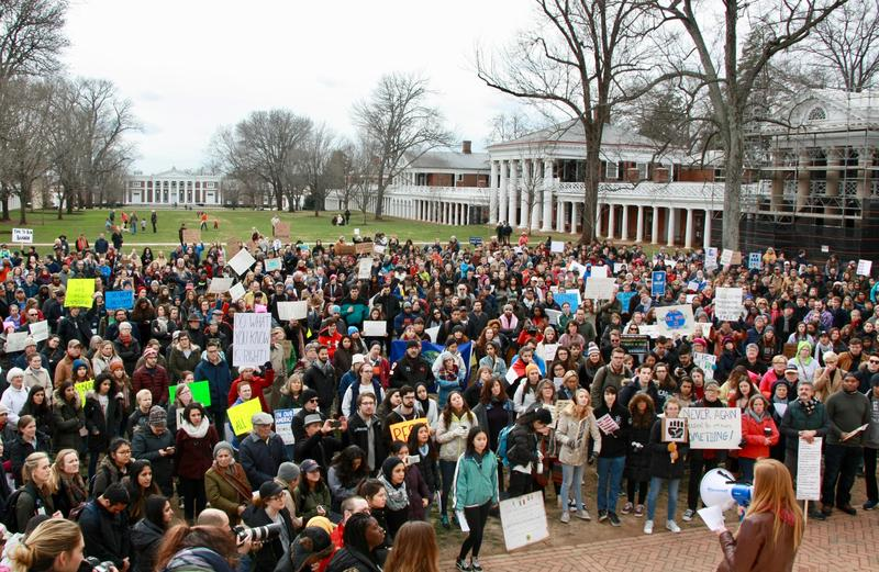 Hundred of students, faculty, and area residents gathered on UVA's Lawn to protest a series of executive orders issued by President Trump towards immigrants and refugees.