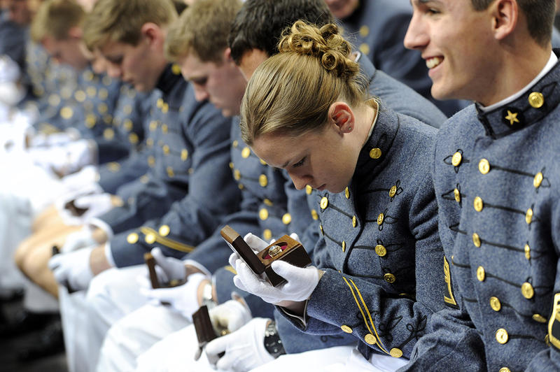 VMI has been admitting women since 1997. Here, a female cadet receives her class ring.