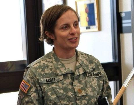 Major Scott, class of '01, was part of the first wave of female cadets at VMI. Integration into the overwhelminly male corps wasn't a huge problem for her, she says.  She currently works for a one star general and is set to go work at the Pentagon soon.