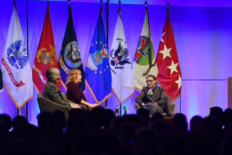 On Wednesday, Feb. 1, Justice Ruth Bader Ginsburg (r) answered questions from Georgetown Law professors Wendy Williams (l) and Mary Hartnett at Virginia Military Institute.