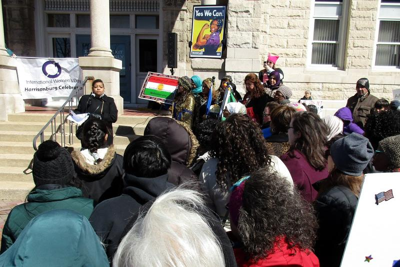 Monica Robinson, president of the Harrisonburg chapter of the NAACP, speaks on the courthouse steps.