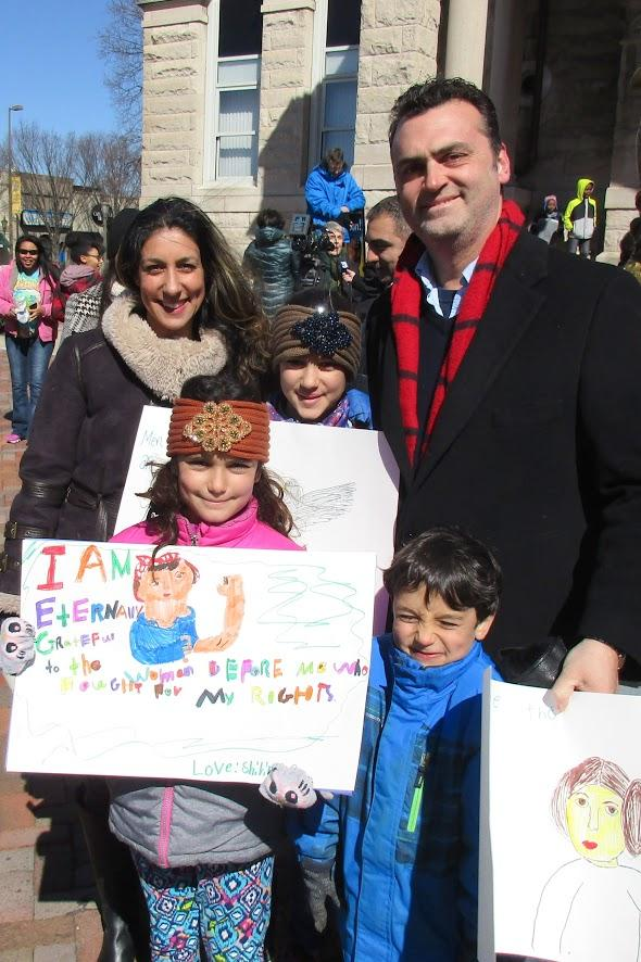 "Bernie Kaussler, here with his wife Diar and children Shirin, Soraya, and Dariush, said, ""I think this is a critical juncture in American society and public life. It's important for [our children] to be aware."""