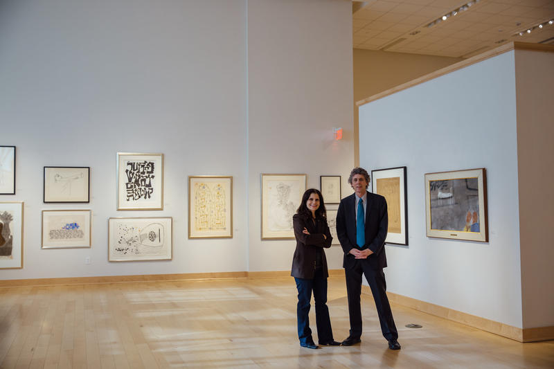Guest Curator Laura Katzman and Duke Gallery Director Gary Freeburg in the exhibition, Drawing on the Left.
