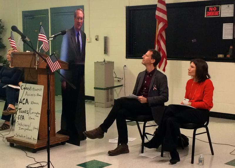Chris Gavaler of 50 Ways Rockbridge (seated, left) co-hosted a mock Town Hall for 6th District Congressman Bob Goodlatte in Vinton in February.