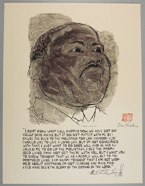 Ben Shahn, Martin Luther King (1968), offset photolithograph, Collection of Adam and Erika Berg. @Estate of Ben Shahn, VAGA, New York, N.Y.
