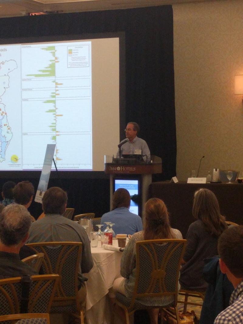 Rich Batuik is Associate Director for Science, Analysis and Implementation at the Chesapeake Bay Program Office. He presented positive results on water quality in the region.