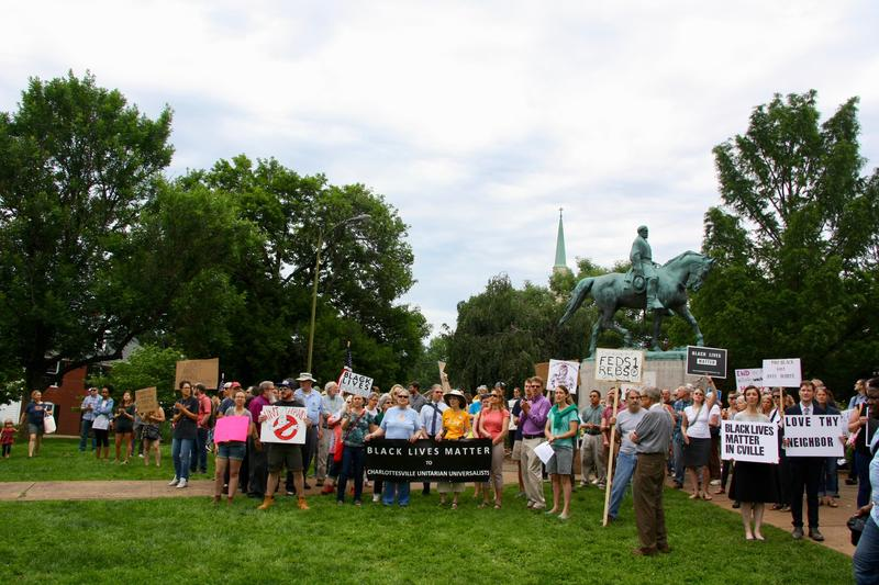 About 150 liberal activists and religious leaders gathered on Wednesday in Lee Park to protest what they thought would be a group of pro confederacy supporters of the Lee statue.