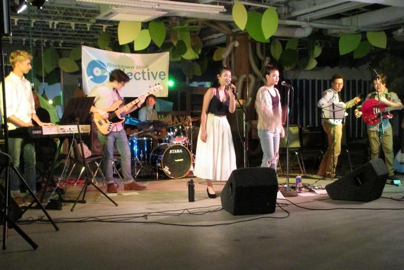 """Just in Case"" performs at a recent teen band night in the upper story of the Explore More Discovery Museum."