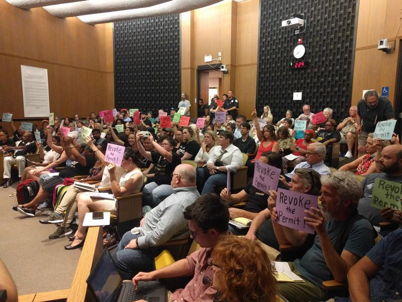 About 200 people packed the council chambers with signs in hand on Monday night. SURJ, Solidarity Cville, Black Lives Matter and other groups asked the Council to revoke the Alt-Right's permit to plan a rally in Charlottesville on August 12th.