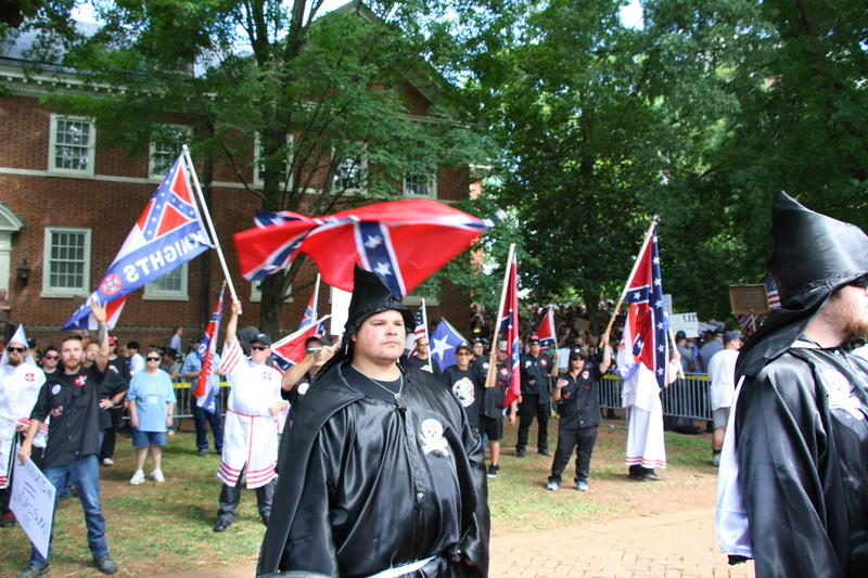 More than 50 members of the Loyal White Knights of the KKK came to Charlottesville on July 8th from North Carolina to protest the renaming of the parks formerly known as Jackson and Lee Parks.