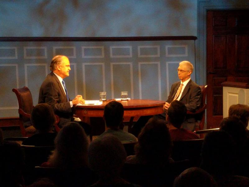 Moderator Douglas Blackmon (left) asked historian Marc Selverstone (right) about his role of consultant during the making of the PBS documentary.