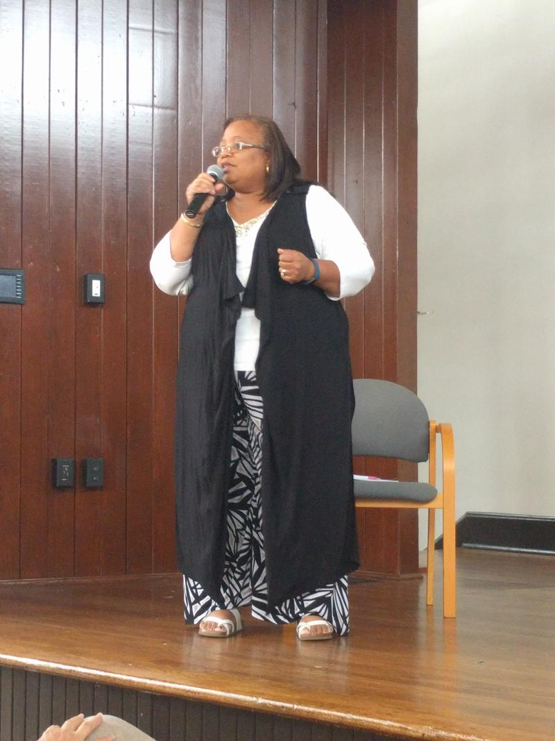 Karen Waters-Wicks moderated the Community Conversation taking place at the Heritage Center on Monday evening.
