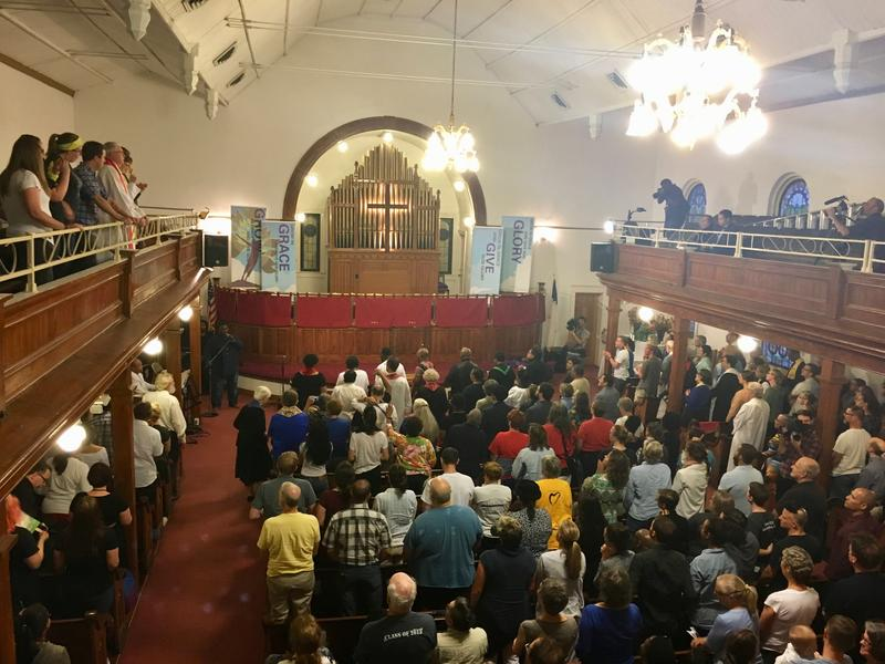 About 300 people packed into the First Baptist Church on Saturday for a 6 a.m. service. Dr. Cornel West encouraged the audience to stand up for their human rights.