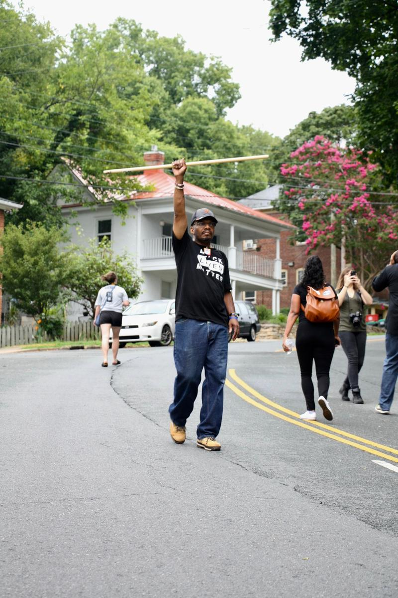 Don Gathers helped lead a march with Black Lives Matter through the city, as he protested the white nationalists gathering as part of Saturday's alt right rally.