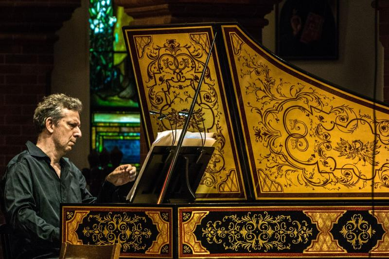 Artistic Director Carsten Schmidt performs on his own harpsichord at the Staunton Music Festival.