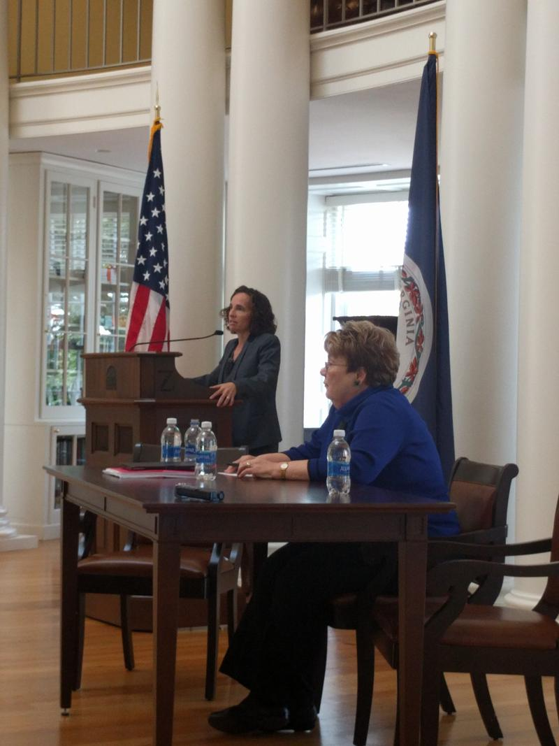 Risa Goluboff (at the mic) is the Dean of the School of Law. UVa President Teresa Sullivan (seated) presented the actions the University has taken since the events of August 11-12.