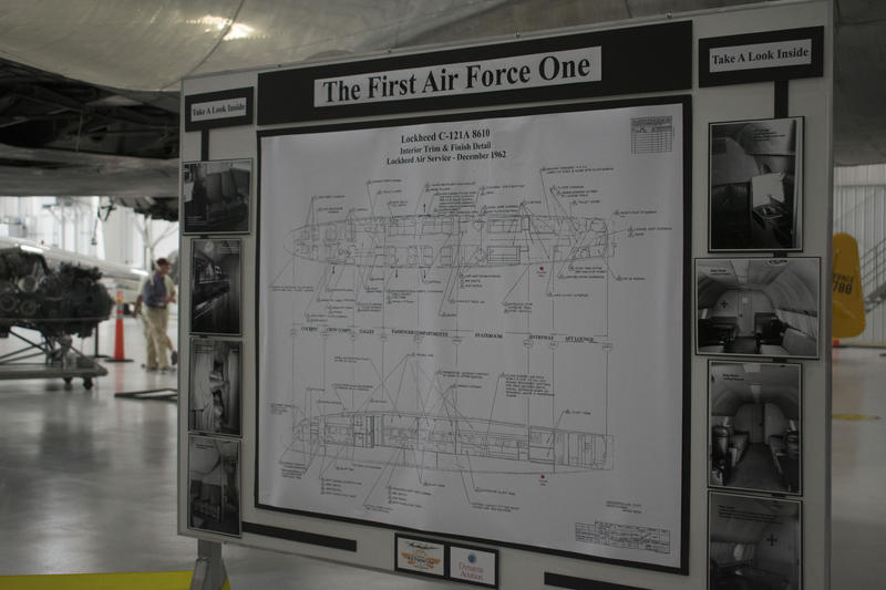 Diagrams like this one for the first Air Force One were littered throughout the hangers to inform attendees about the history and the engineering behind the airplanes.