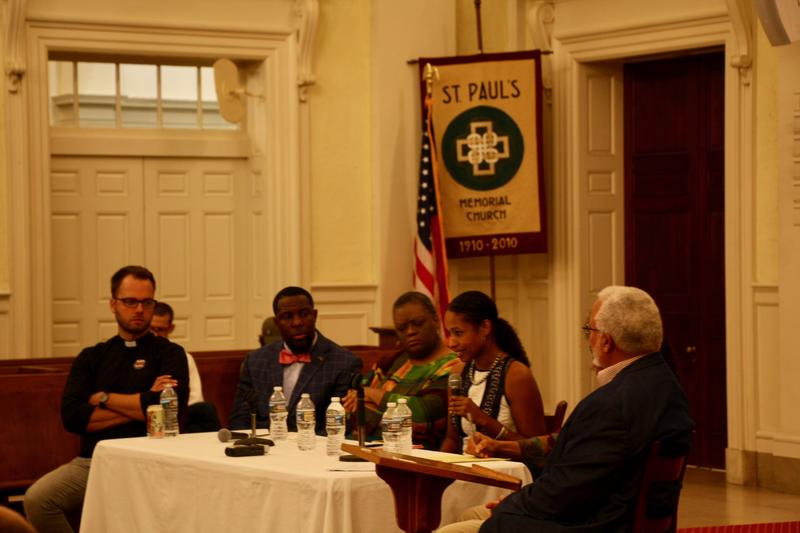 (L to R): Rev. Seth Wispelwey, Vice-Mayor Wes Bellamy, Rev. Brenda Brown-Grooms, Larycia Hawkins, Jalane Schmidt (not seen), and Associate Prof. John Mason.