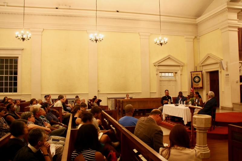 About 100 people packed into St. Paul's Memorial Church in Charlottesville on Wednesday evening to hear a panel discussion about white supremacy and Christianity.