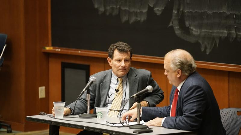 After his lecture - introduced by Mayor Mike Signer and the Miller Center's director Bill Antholis - Kristof then sat down with the Center's Doug Blackmon, host of the American Forum and answered a few questions from the audience.