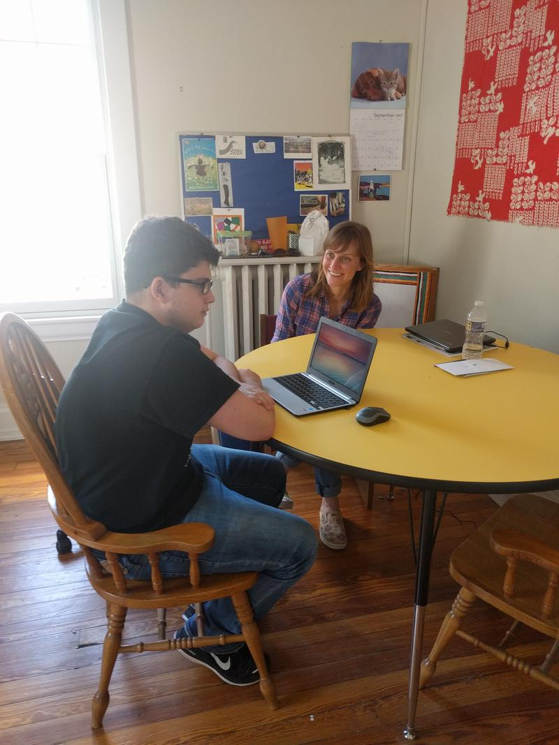 Kate Ciszek (right) is the school's Learning Coordinator. She meets with students such as Ross Barron several times a week to check on how they are doing, and to discuss post-high school plans. Kate was a special ed teacher in the public school system.