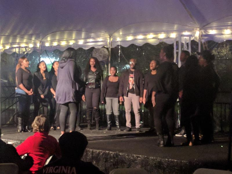 The Black Voices Choir from UVa sang a couple of songs during the introduction of the Slave Dwelling Project's mission and upcoming overnight experience: sleeping on UVa's Lawn like the slaves at the university had to.