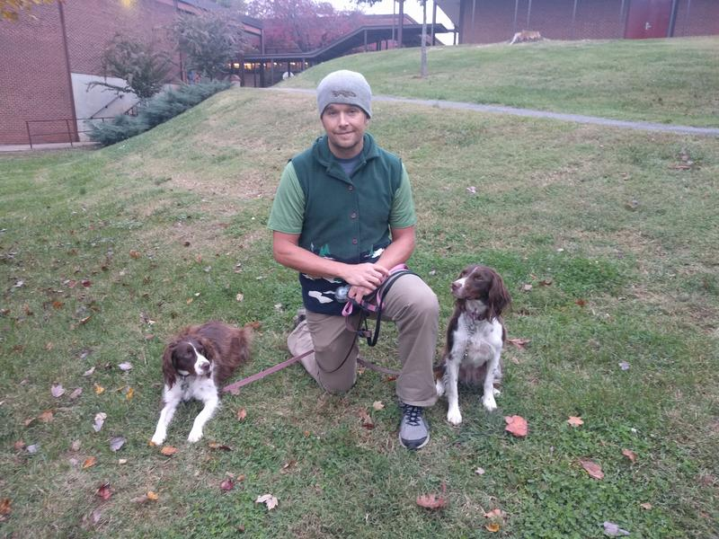 John Worozbyt voted Democratic today - accompanied by his dogs Lola and Luna.