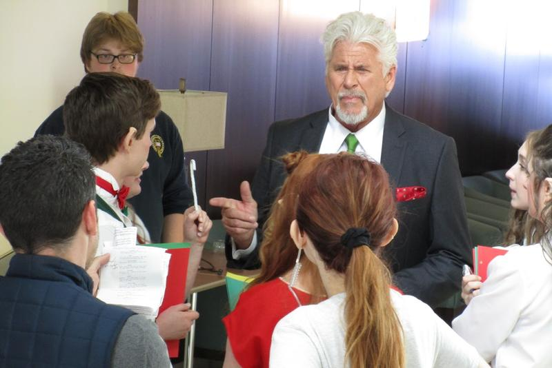 "Barry Boswick runs through lines on the set of ""Santa Girl."""