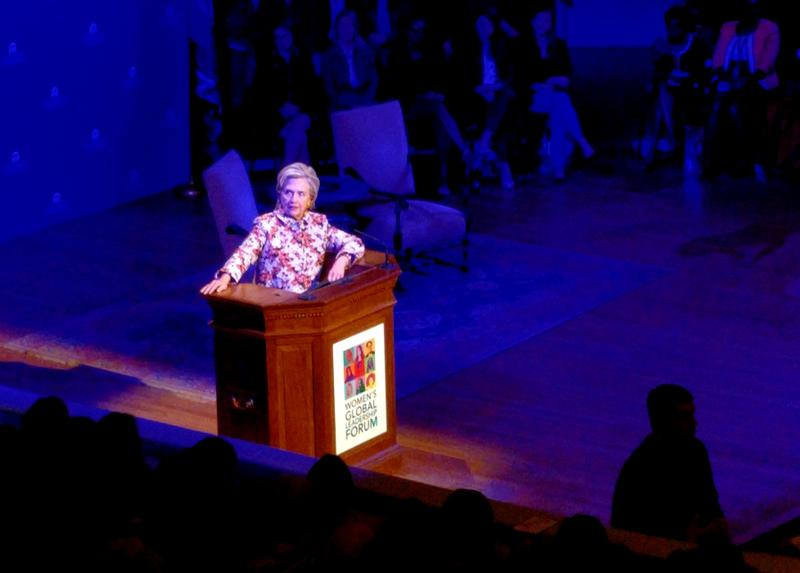 After an introduction by UVa President Theresa Sullivan and outgoing Governor Terry McAuliffe, Hillary Clinton arrived to give the final remarks of the university's Women's Global Leadership Forum.