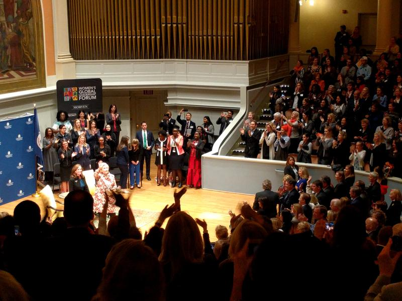 After her talk and her conversation with Lady McAuliffe (left), the former Secretary of State received a standing ovation from the audience - made up of a majority of women.